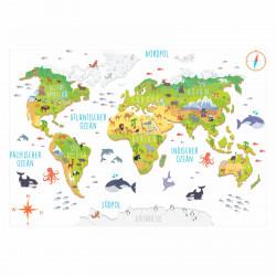174 Wandtattoo Weltkarte mit Tieren - Kinderzimmer Wanddeko