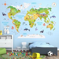 174 Wandtattoo Weltkarte mit Tieren 3D - Kinderzimmer Wanddeko