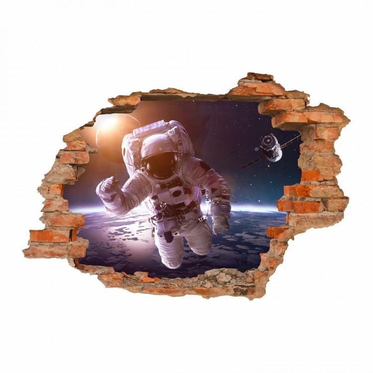 176 Wandtattoo Astronaut - Loch in der Wand - Weltall Kosmonaut