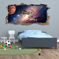 175 Wandtattoo Weltall Raumstation - Loch in der Wand - Planeten Galxie Sterne