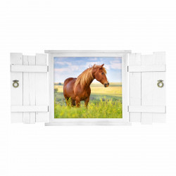181 Wandtattoo Pferd Wiese im Fenster mit Fensterläden weiß