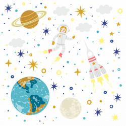 178 Wandtattoo Sonnensystem Planeten Rakete Erde Mond Sterne