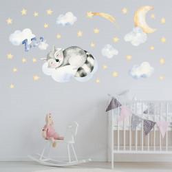 182 Wandtattoo Waldfreunde Waschbär auf Wolke mit Mond und Sternen
