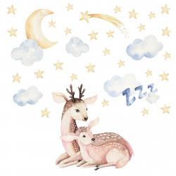 183 Wandtattoo Reh mit Kitz - Wolken, Mond und Sternen