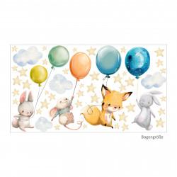 184 Wandtattoo Tiere mit Luftballan - Aquarell Fuchs, Hase, Maus