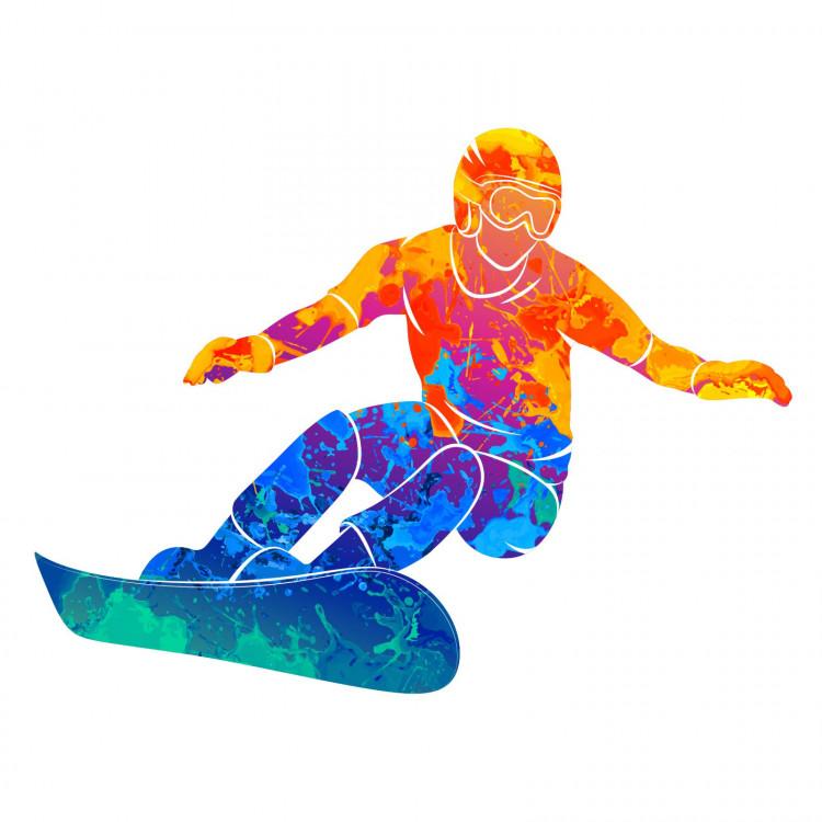 185 Wandtattoo Snowboarder bunt