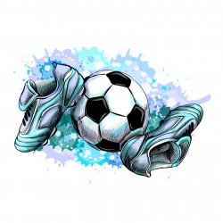 187 Wandtattoo Fussballschuhe und Ball