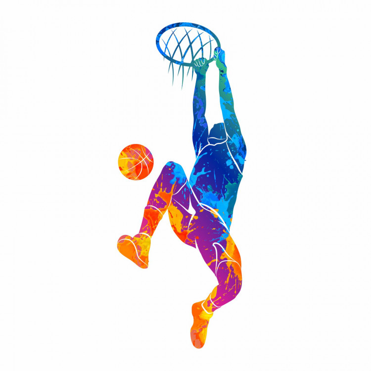 188 Wandtattoo Basketball Korb bunt