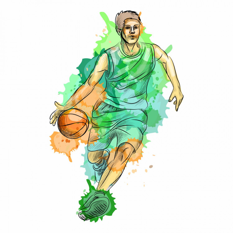 189 Wandtattoo Basketball Spieler grün