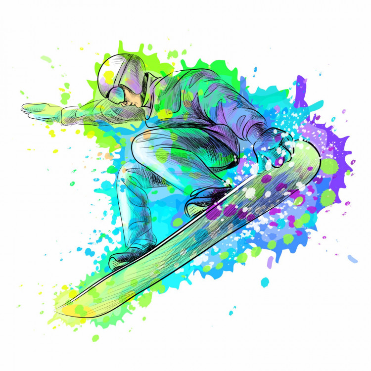 190 Wandtattoo Snowboarder 2 grün blau