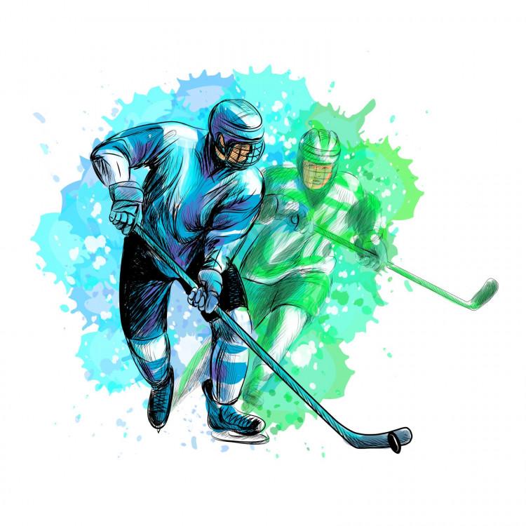 191 Wandtattoo Eishockey Spieler grün blau