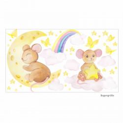 192 Wandtattoo Maus mit Mond und Wolke - Aquarell Regenbogen, Sterne