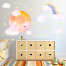 193 Wandtattoo Vollmond mit Wolke - Aquarell Regenbogen, Sterne