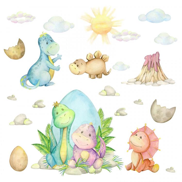 194 Wandtattoo Baby Dinosaurier - Aquarell Vulkan Sonne Wolken