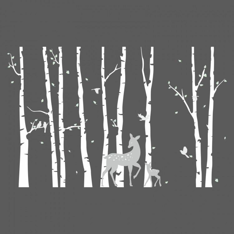 196 Wandtattoo Birkenstämme WEISS mit Reh und Kitz - Vögel Birke