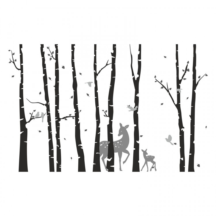 198 Wandtattoo Birkenstämme SCHWARZ mit Reh und Kitz - Vögel Birke