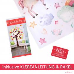 199 Wandtattoo Birkenstämme WEISS mit Hirsch, Reh und Kitz - Vögel Birke