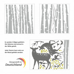 200 Wandtattoo Birkenstämme GRAU mit Hirsch, Reh und Kitz - Vögel Birke