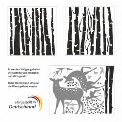 201 Wandtattoo Birkenstämme SCHWARZ mit Hirsch, Reh und Kitz - Vögel Birke