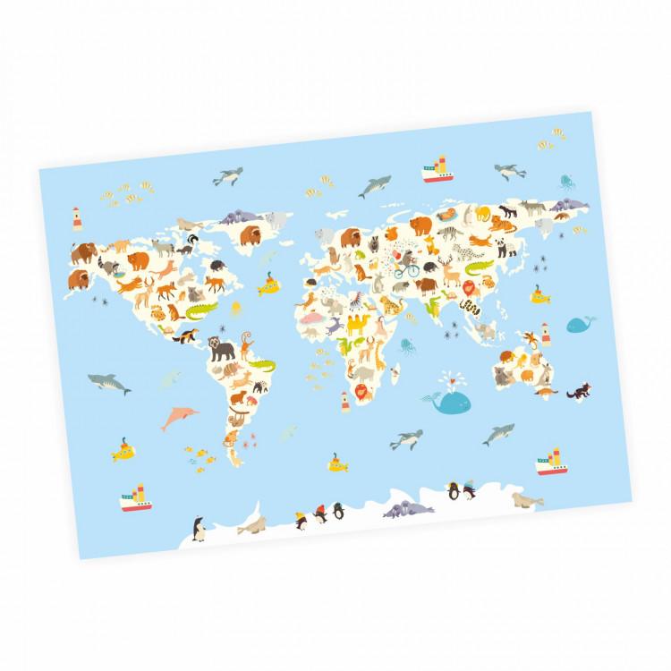 Kinder Lernposter Weltkarte Tiere Wanddeko Kinderzimmer