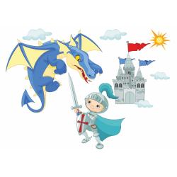 041 Wandtattoo Ritter mit Drache und Burg