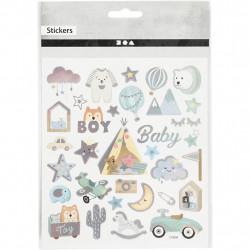Babysticker Junge mit Silber Metalliceffekt - Blatt 15 x 16,5 cm - Boy Aufkleber Stickerbogen