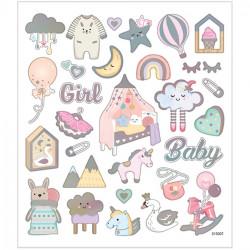 Babysticker Mädchen mit Silber Metalliceffekt - Blatt 15 x 16,5 cm - Girl Rosa Aufkleber Stickerbogen