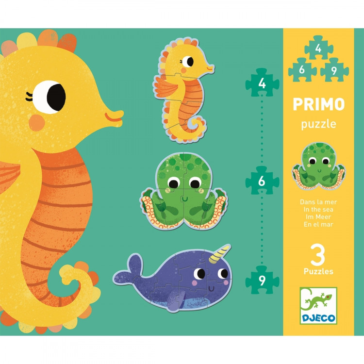 DJECO Puzzle Im Meer - Seepferdchen, Krake und Narwal