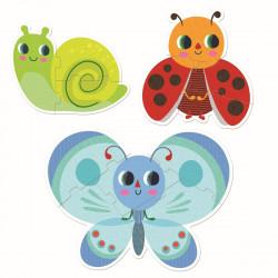 DJECO Puzzle Im Garten - Marienkäfer, Schnecke und Schmetterling