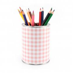 Stiftebecher Vichy Karo rosa - Kinder Stifteköcher Stiftehalter
