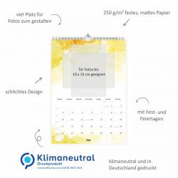 Fotokalender Bastelkalender Watercolor mit Feiertagen 2021