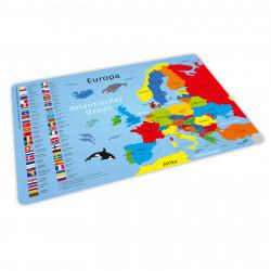 stabiles Vinyl Tischset - Europa mit Flaggen und Hauptstädten