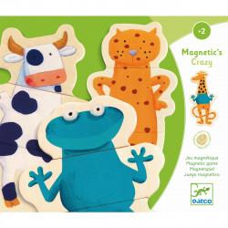DJECO Holz Magnete - verrückte Tierwelt - Holzpuzzle ab 2 Jahren
