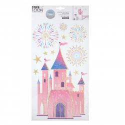 Prinzessin Schloss Glitzer Aufkleber Sticker Wandtattoo Mädchen