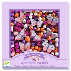 DJECO Schmuck basteln: 450 Holzperlen Schmetterlinge - lila