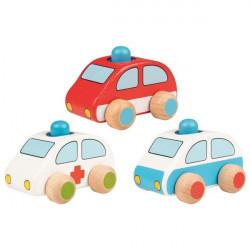 goki Holzauto Fahrzeuge mit Hupe, Polizei, Feuerwehr und Krankenwagen