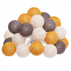 Atmosphéra LED Lichterkette Cottonballs 20 Bälle orange,braun,rosa
