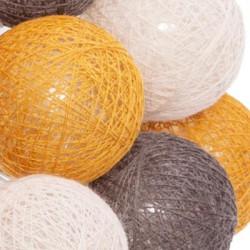 Atmosphéra LED Lichterkette Cottonballs 20 Bälle orange,braun,rosa